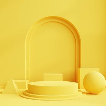제품 발표를위한 노란색 연단 디스플레이