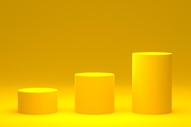 Желтый подиум минимальный или продуктовый стенд 3d-рендеринг для презентации косметической продукции