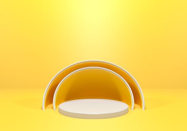 노란색 연단 선반 또는 빈 받침대 디스플레이. 제품 배치를위한 빈 스탠드. 3d 렌더링. 프리미엄 포토