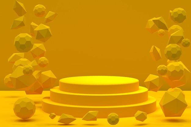 Желтый подиум с абстрактными плавающими формами