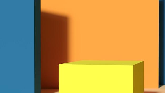 주황색 배경에 노란색 연단입니다. 기하학적 하나와 받침대에 추상 장면. 빈 공간 디자인의 레이아웃입니다. 3d 렌더링.