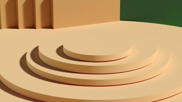 녹색 배경에 노란색 연단입니다. 기하학적 추상 받침대 장면입니다. 화장품 프레젠테이션을 보여주는 장면. 디자인 빈 공간을 조롱합니다. 진열장, 상점 정면, 진열장, 3d 렌더