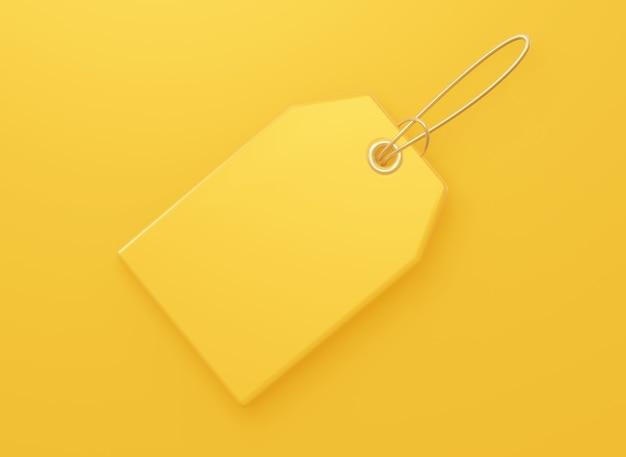 黄色の価格の空白のタグ。販売については、製品の割引。 3dレンダリング。