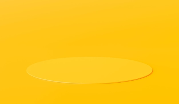 빈 배경으로 광고 디스플레이에 노란색 제품 배경 스탠드 또는 연단 받침대. 3d 렌더링.
