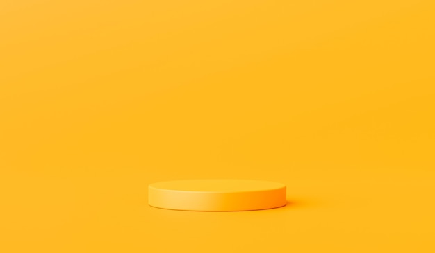 Yellow product background stand or podium pedestal on advertising display with blank backdrops. 3d rendering.