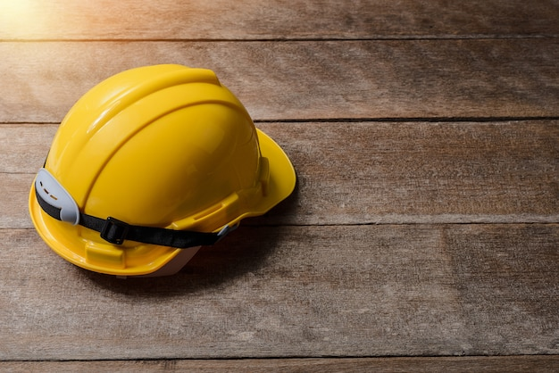 Yellow protective safety helmet