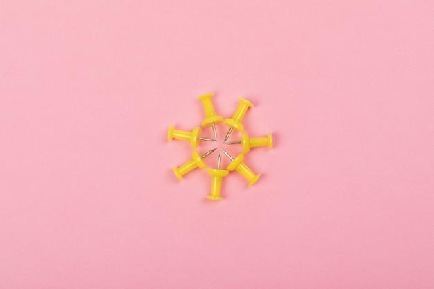 Yellow pushpins