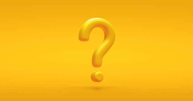 Yellow question mark icon sign or ask faq answer solution and information support illustration business symbol on vivid background with problem graphic idea or help concept. 3d rendering.