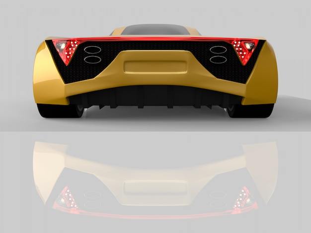 Yellow racing concept car. image of a car on a gray glossy background