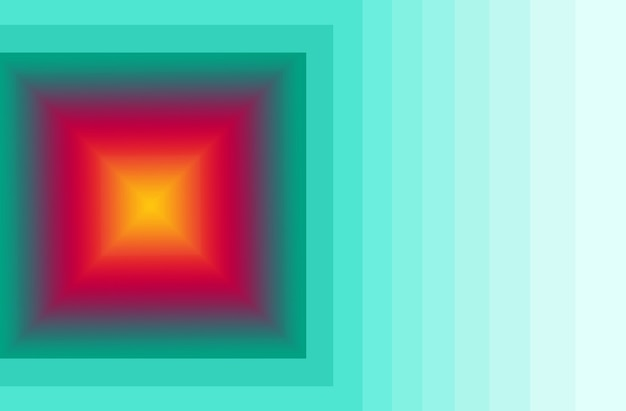 Yellow and red 3d square with gradient green frame for abstract background