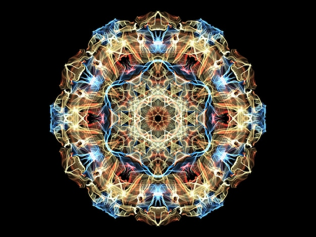 Yellow, red and blue abstract flame mandala flower