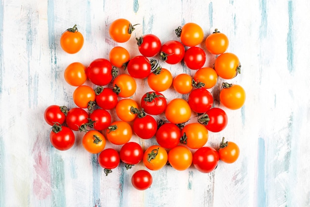 Yellow and red cherry tomatoes.