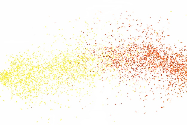 Yellow red falling particles round shape on white backround.