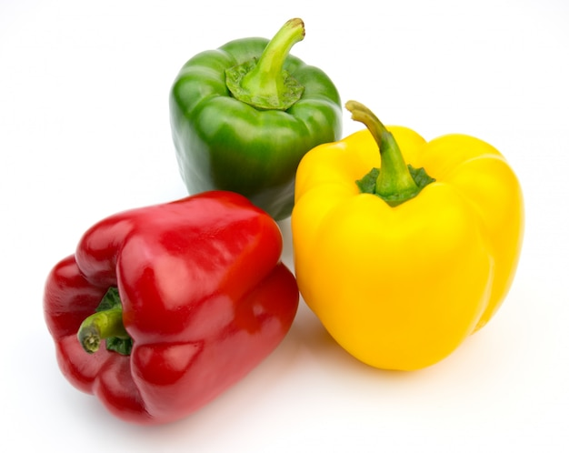 Yellow, red, green, fresh bell pepper on white background
