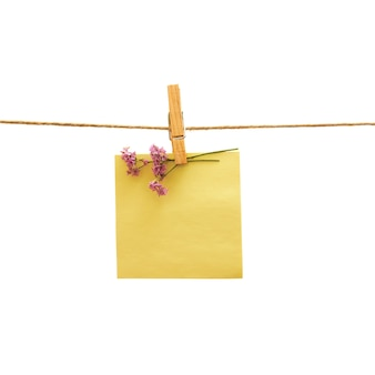 黄色のリマインダーと白で衣服止め釘と紫の花