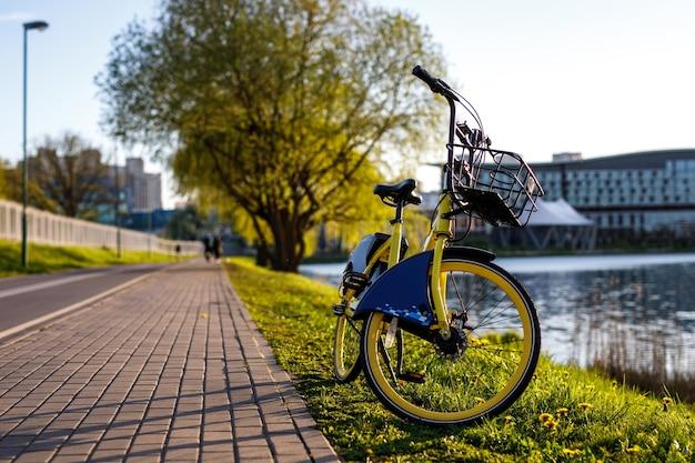 도시의 노란색 렌탈 자전거. 연못 근처의 일몰.