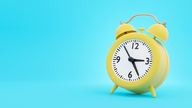 Yellow retro alarm clock in 3d rendering