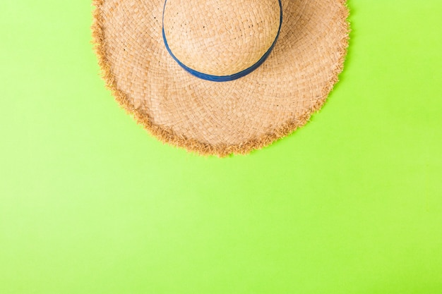 Yellow retro straw hat top view with copy space. summer concept on green background.