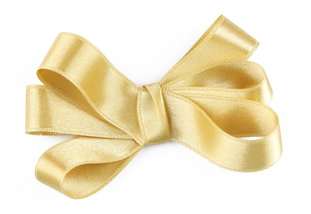 白で隔離の黄色いリボンの弓