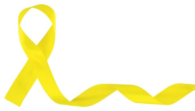 Желтый символ осведомленности рака детства ленты, изолированный на белизне.