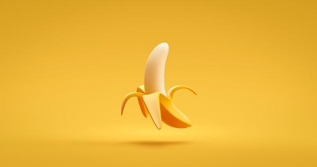 노란색 잘 익은 바나나 껍질을 벗기거나 비타민 영양 개념을 가진 생생한 색상 배경에 신선한 열대 달콤한 맛있는 유기농 과일. 3d 렌더링.