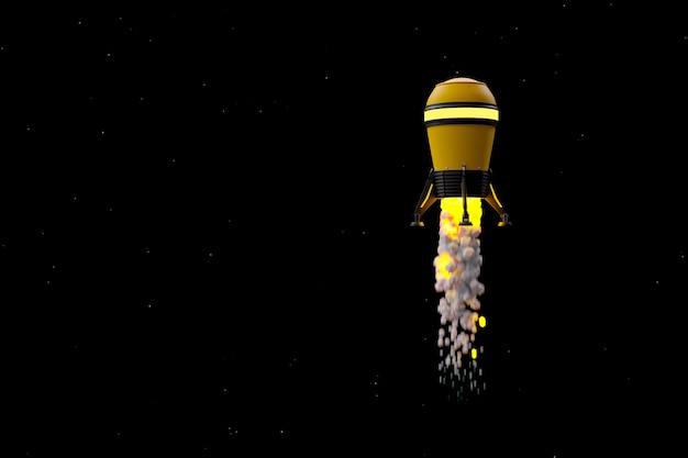 Yellow rocket in space background.