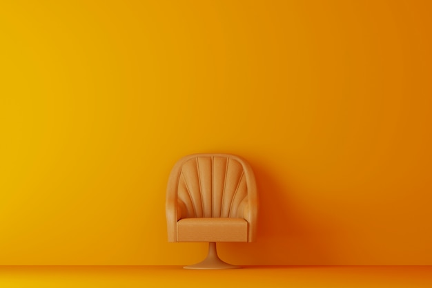 Yellow room with yellow sofa. 3d rendering.