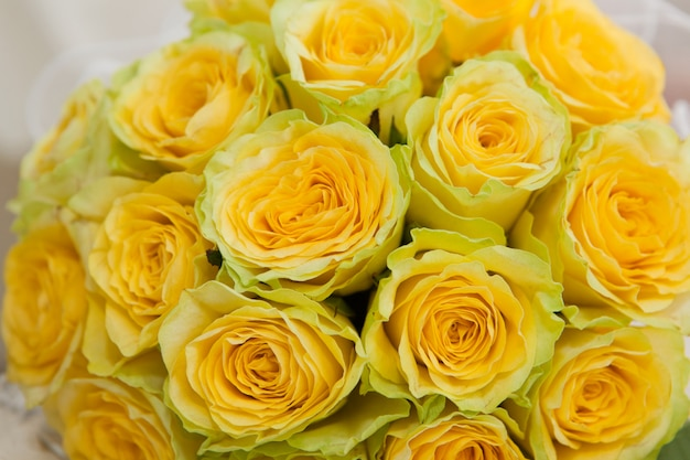 Yellow roses. bouquet from yellow roses close up.