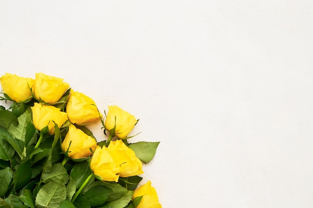 Yellow roses bouquet on light background