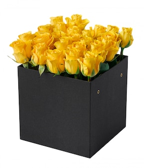 Yellow roses in a hat box isolated