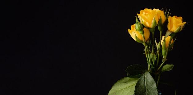 コピースペースと花瓶の黄色いバラ