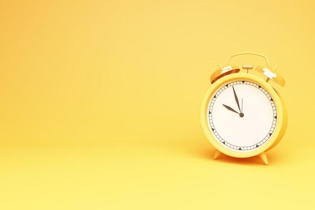 Желтые круглые настольные часы на желтом фоне 3d-рендеринга