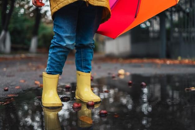 Желтые резиновые туфли в луже после дождя. падающие листья. концепция осеннего сезона.