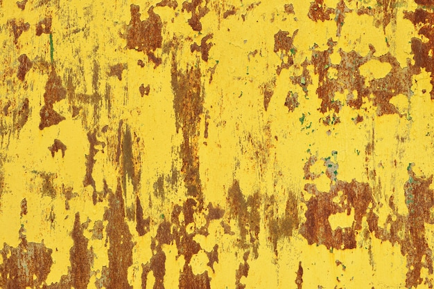 Yellow rust on a metal wall, the old background