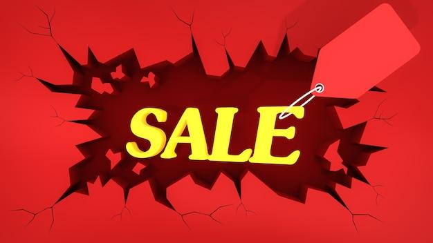 균열 붉은 땅에 가격표와 함께 노란색 판매 사인. 쇼핑 개념, 3d 렌더링.