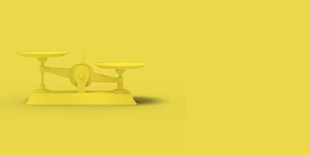 Желтые весы на желтом фоне. абстрактное изображение. минимальная концепция бизнеса. 3d визуализация.