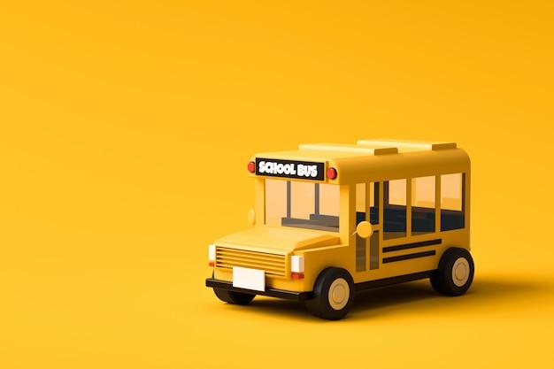 다시 학교 개념으로 생생한 노란색 배경에 노란색 스쿨 버스. 클래식 스쿨 버스 자동차. 3d 렌더링.