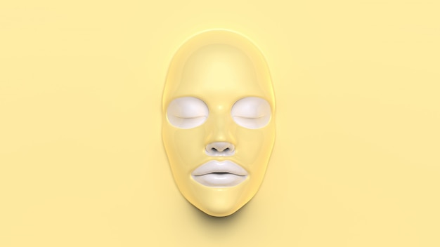 Yellow sheet mask on yellow background 3d render