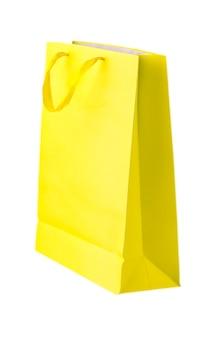 흰색 배경에 고립 된 노란색 쇼핑백