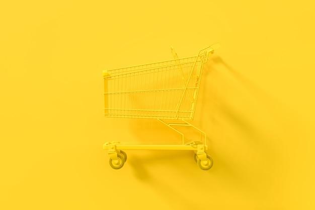 黄色の背景にクリッピングパスと黄色のショッピングカート。最小限のアイデアコンセプト、3dレンダリング。