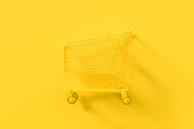 Yellow shopping cart with clipping path on a yellow background. minimal idea concept, 3d render.
