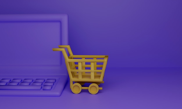 Yellow shopping cart with laptop computer on purple surface