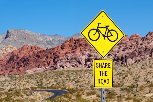 Yellow sign in red rock canyon, nevada, usa