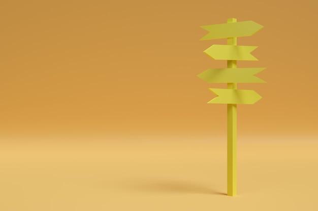 オレンジ色に分離された矢印の黄色の兆候。