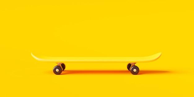 Желтый скейтборд или доска для серфинга на ярком цветном фоне с экстремальным образом жизни. 3d-рендеринг.