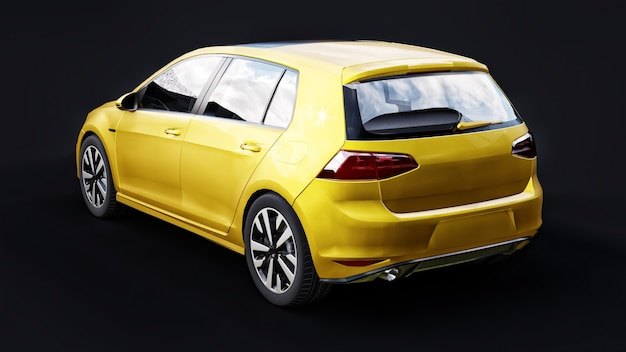Yellow small family car hatchback on black background. 3d rendering.