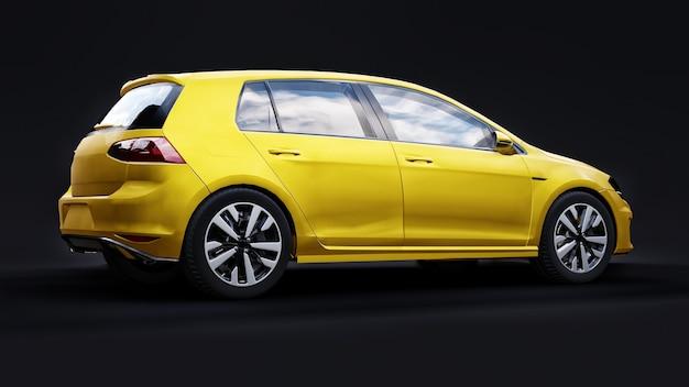 Желтый небольшой семейный автомобиль хэтчбек на черном фоне. 3d-рендеринг.