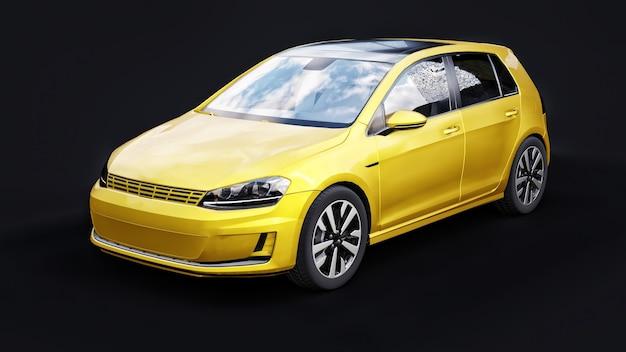 Желтый небольшой семейный автомобиль хэтчбек на черной поверхности