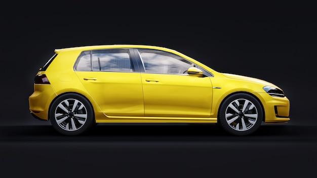 Желтый небольшой семейный автомобиль хэтчбек на черном Premium Фотографии