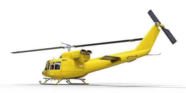 격리 된 흰색 배경 3d 그림에 노란색 작은 군사 수송 헬리콥터